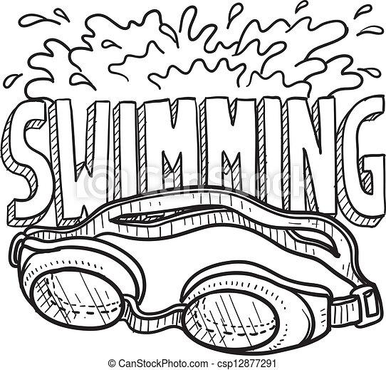 Dibujo deportivo de natación - csp12877291