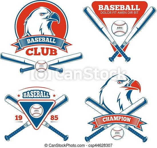 Insignias de vectores deportivos Retro béisbol para chicos deportivos - csp44628307