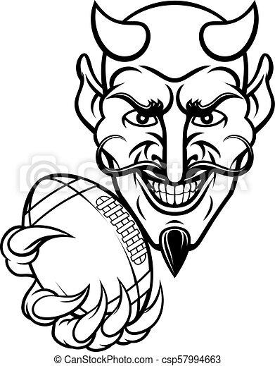 La mascota del fútbol americano del diablo - csp57994663
