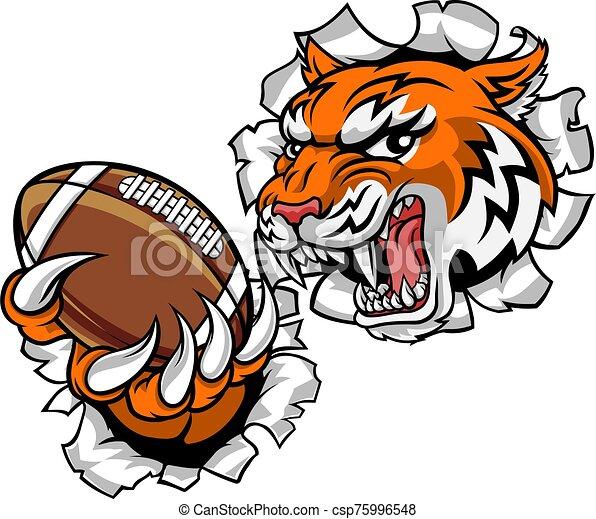 deportes, tigre, mascota, jugador, fútbol, norteamericano - csp75996548