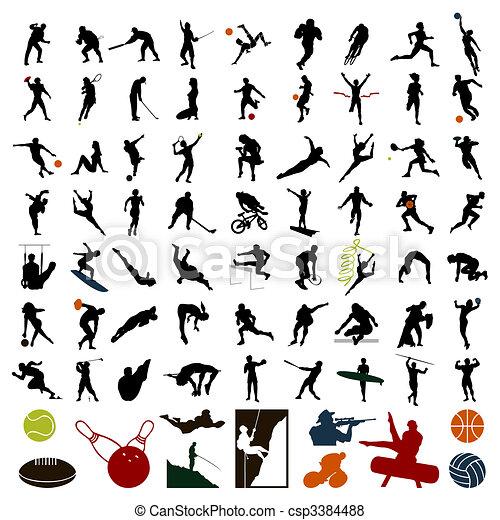 Siluetas de deportistas de color negro. Una ilustración del vector - csp3384488