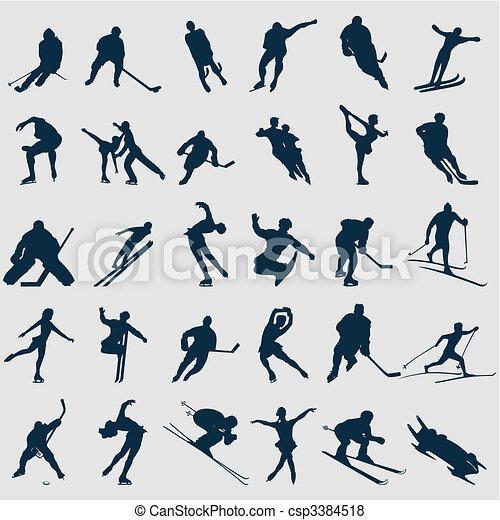 Siluetas de deportistas de color negro. Una ilustración del vector - csp3384518