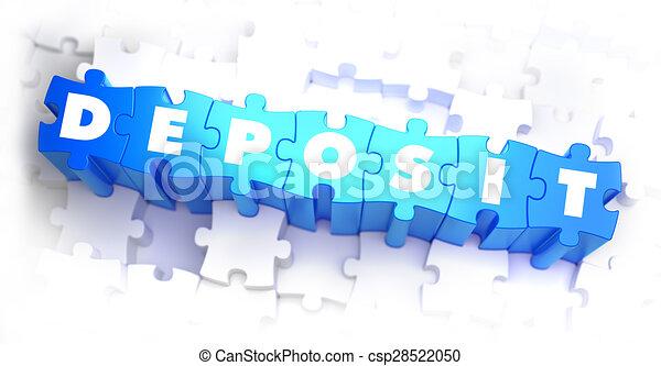 Deposit - White Word on Blue Puzzles. - csp28522050