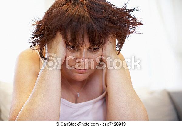 Depressed Overweight Woman - csp7420913