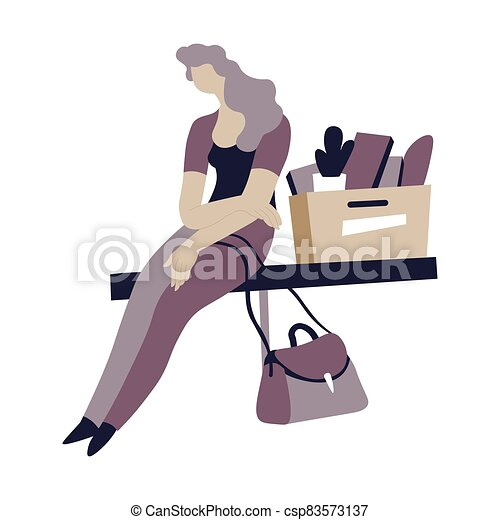 Depressed woman sitting by carton box with personal stuff - csp83573137