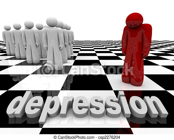 Depression - One Person Stands Alone - csp2276204