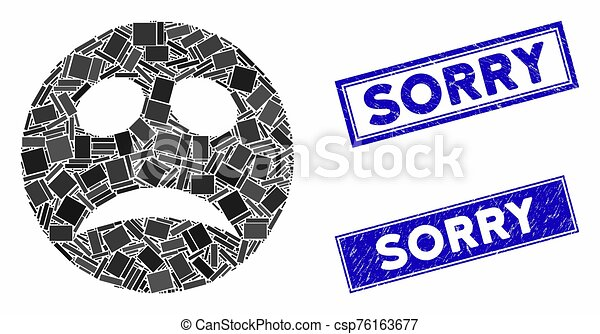 Depression Smiley Mosaic and Grunge Rectangle Sorry Stamp Seals - csp76163677