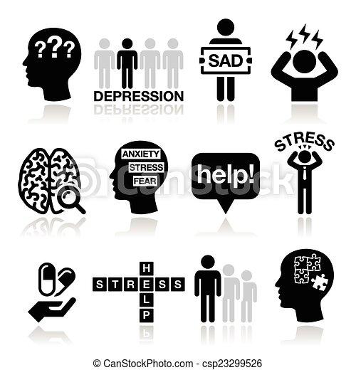 Depression, stress icons set - csp23299526