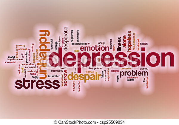 Depression word cloud with abstract background - csp25509034