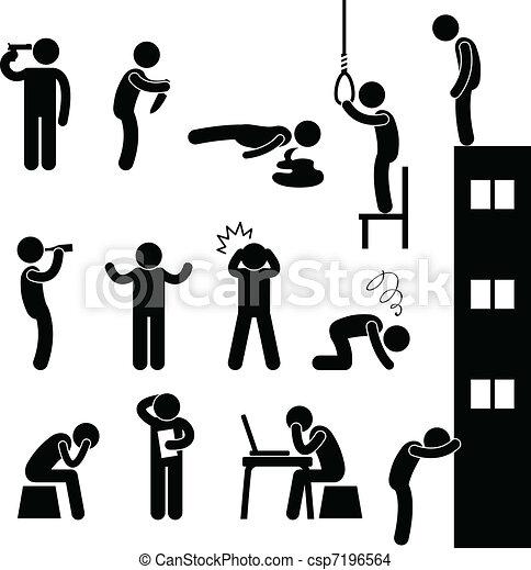 deprima, suicídio, pessoas, triste, matança, homem - csp7196564
