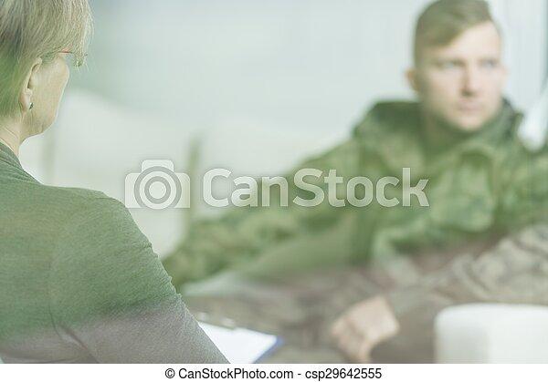 deprimido, militar, homem - csp29642555