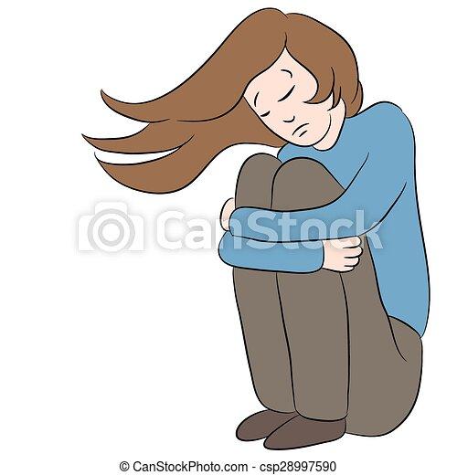 Deprimido Mulher Triste Imagem Caricatura Femininas Depressed