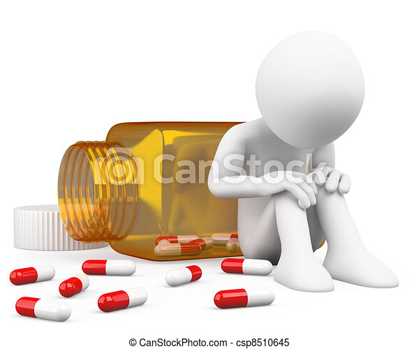 deprimido, toma, 3d, píldoras, hombre - csp8510645