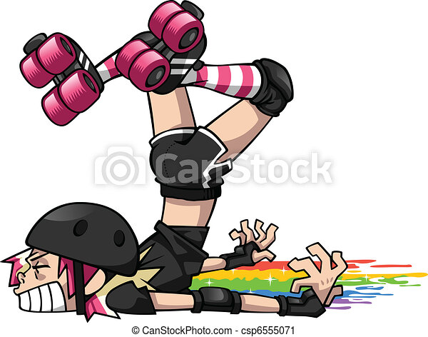 derby girl wipeout a blocker playing roller derby takes a fall and rh canstockphoto com Roller Derby Skates Vintage Roller Derby Posters