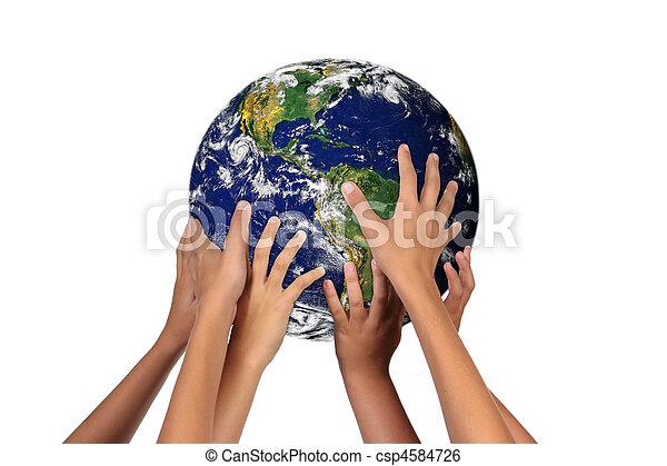 deres, fremtid, jord, generationer, hænder - csp4584726