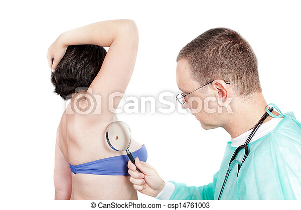 Dermatologist Doctor with stethoscope looks around the patient for the presence of cancer. - csp14761003