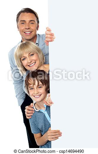 derrière, whiteboard, trois, famille, vide - csp14694490