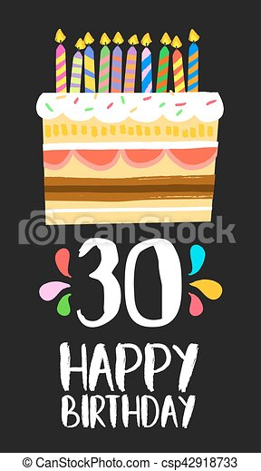 jarig 30 Dertig, 30, jarig, jaar, taart, kaart, vrolijke . Stijl, of, eps10  jarig 30