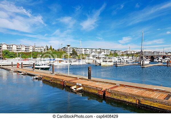 Des Moines Beach Park with marina. - csp6408429