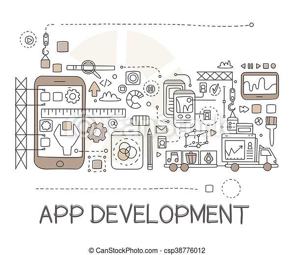 El proceso de desarrollo de aplicaciones, elementos creativos de bocetos - csp38776012