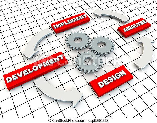 desarrollo, círculo, cuadrícula, engranajes, piso - csp9290283