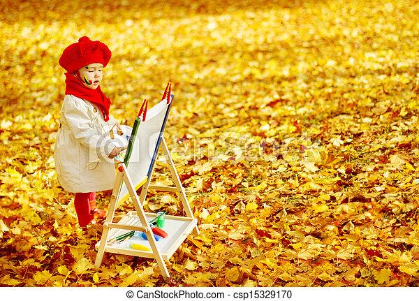 desarrollo, caballete, concept., creativo, otoño, niños, niño, dibujo, park. - csp15329170