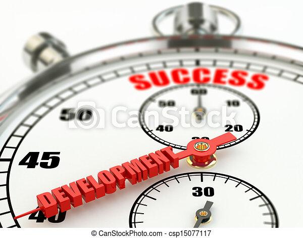 desarrollo, concept., éxito, stopwatch. - csp15077117