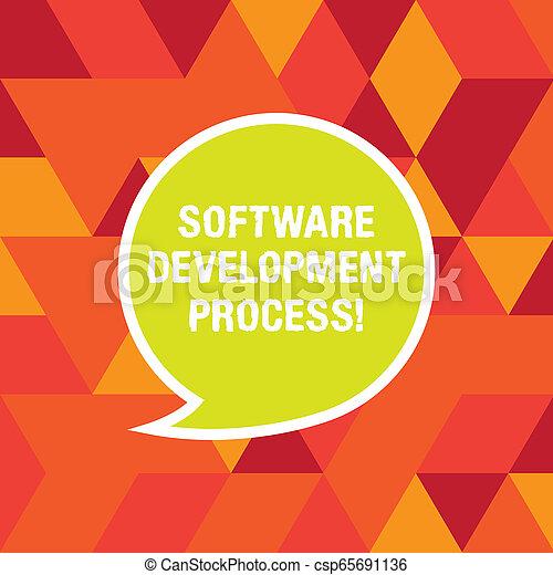 Proceso de desarrollo de software de texto escrito. Concepto de negocios para el proceso de desarrollo de un producto de software pegatina de burbujas de habla en blanco con la caja de diálogo de texto casi vacía. - csp65691136