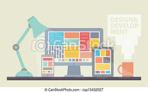 desarrollo, diseño telaraña, ilustración - csp15432027
