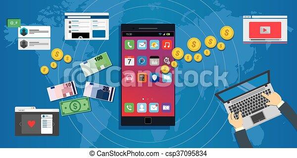 Aplica ecosistema de aplicación móvil de la economía - csp37095834