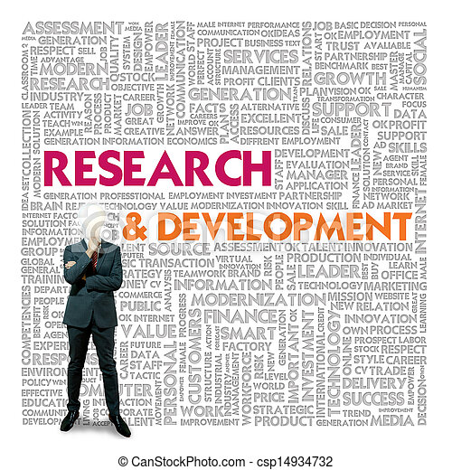 Nube de palabras para los negocios y el concepto financiero, Investigación y Desarrollo - csp14934732