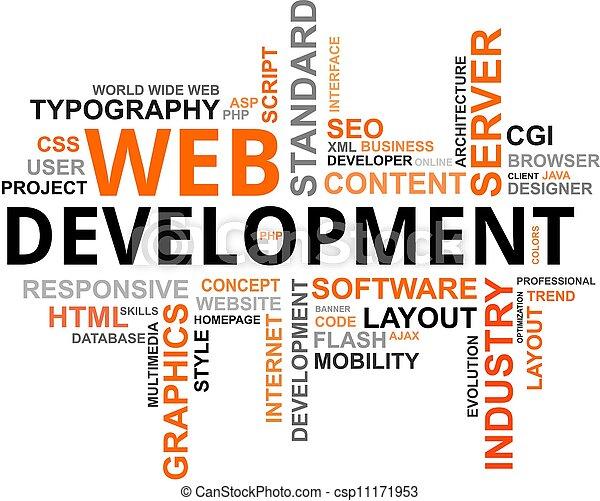 desarrollo, palabra, -, nube, tela - csp11171953