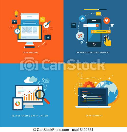 desarrollo, plano, iconos, tela - csp18422581