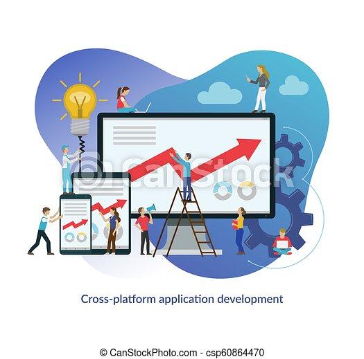 Cruce el concepto de desarrollo de plataformas. Ilustración vectorial plana - csp60864470