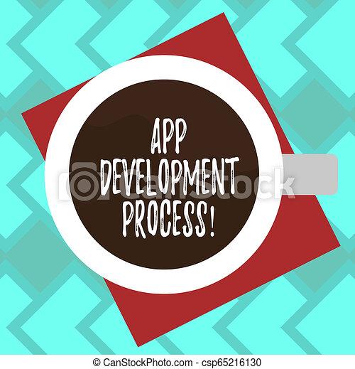 Señal de texto que muestra proceso de desarrollo de aplicación. Predicción de fotos conceptual de las próximas transacciones de un producto de la mejor vista de un vaso de bebida lleno de bebida en color foto de papel. - csp65216130