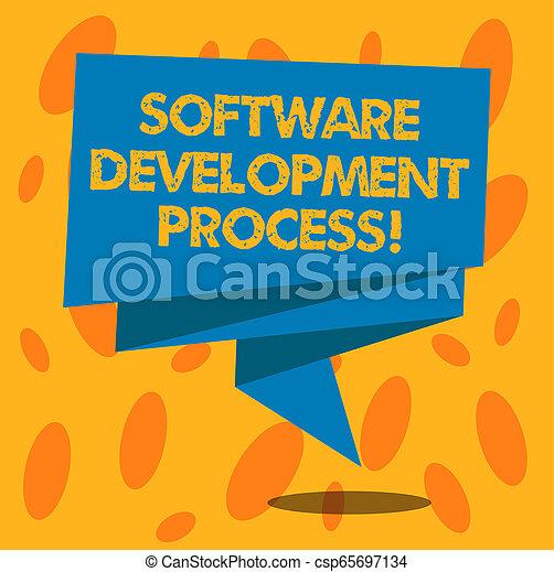 Una nota que muestra un proceso de desarrollo de software. La foto de negocios muestra el proceso de desarrollo de un producto de software doblado cinta 3D tira sólida color blanco foto de banda en blanco para la celebración. - csp65697134