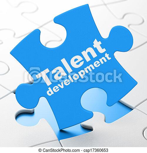 desarrollo, talento, rompecabezas, plano de fondo, educación, concept: - csp17360653