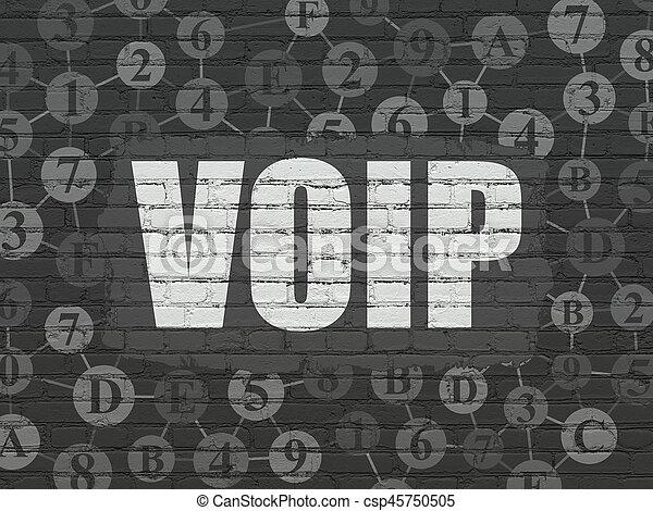 El concepto de desarrollo de la web: VOIP en el fondo de la pared - csp45750505