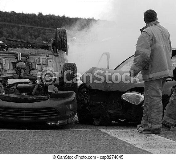 Desaturated car accident. - csp8274045