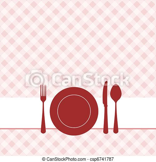Invitación De Almuerzo Con Un Patrón Rojo
