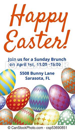 Desayuno Almuerzo Pascua Tarjeta Invitación Huevos