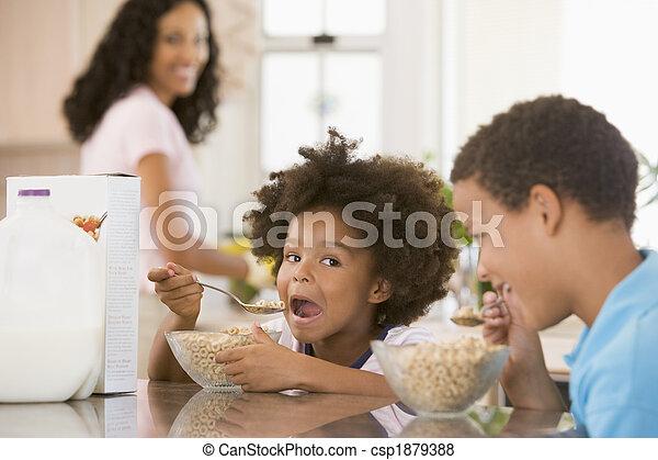 desayuno, comida, niños - csp1879388