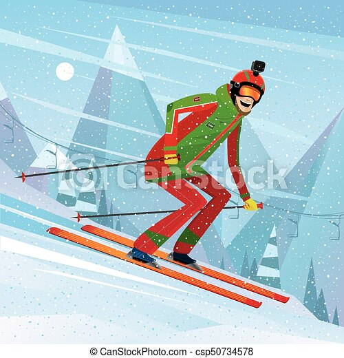 Descent from the mountain on skis - csp50734578