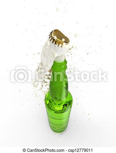 descorchar, botella de cerveza - csp12779011