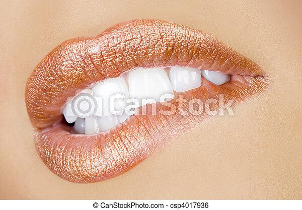 desejo, excitado, lábios - csp4017936