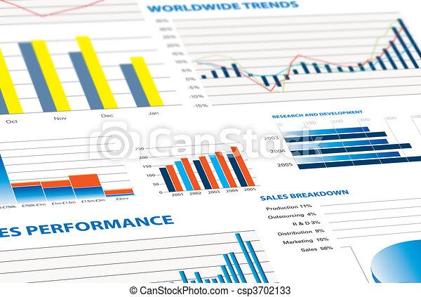 desempenho, vendas, negócio, gráficos - csp3702133