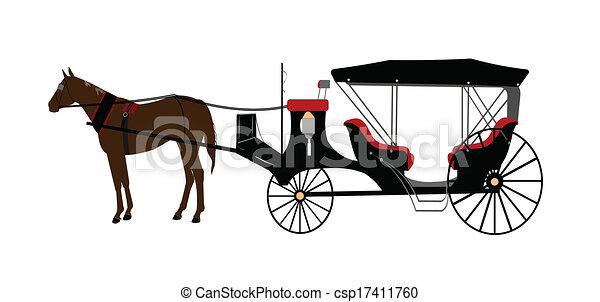 desenhado, cavalo, carruagem - csp17411760