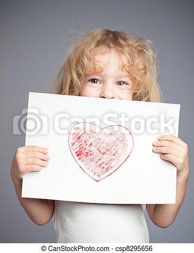 desenhado, coração - csp8295656