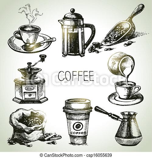 desenhado, jogo café, mão - csp16055639