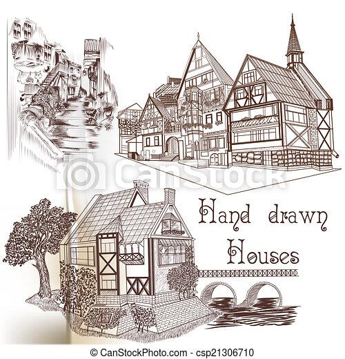 desenhado, vetorial, mão, casas - csp21306710